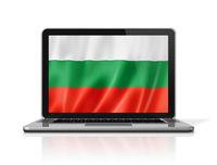 Bulgarian flag on laptop screen isolated on white. 3D illustration