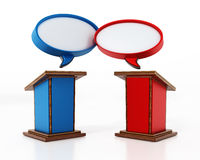 Blue and red lecterns with speech balloons. 3D illustration
