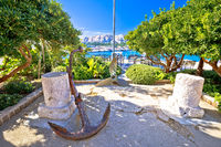 Town of Baska green park by the sea view