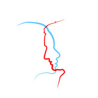 Detailed beautiful woman and man face profile in one line on white