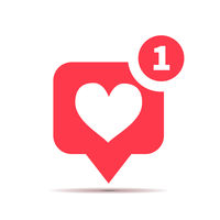 One new like red icon, social media heart piktogram isolated on white