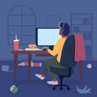 Freelancer in messy room flat color vector illustration