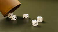 leather cup and five dice showing six