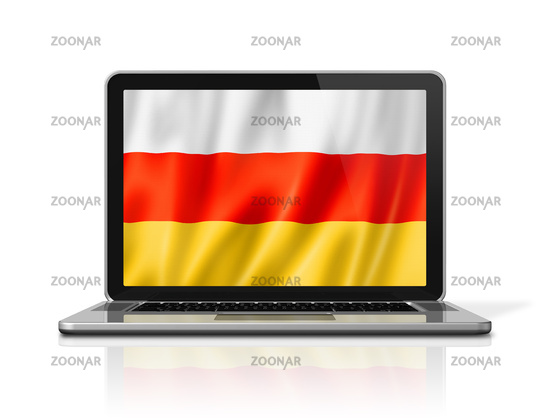 South Ossetia flag on laptop screen isolated on white. 3D illustration