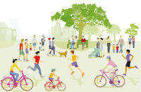 Sports activities in the park, running and cycling, recreation with family