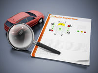 Auto expertise concept. Magnifying glass on the model car with test results. 3D illustration