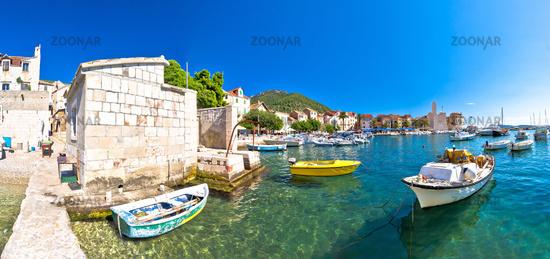 Town of Komiza on Vis island scenic waterfront panoramic view