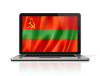 Transnistria flag on laptop screen isolated on white. 3D illustration