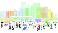 City with groups of people and traffic illustration