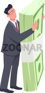 Entrepreneur holding money bundle flat concept vector illustration