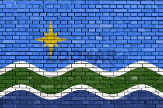 flag of Duluth, Minnesota painted on brick wall
