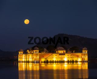 Rajasthan landmark - Jal Mahal (Water Palace) on Man Sagar Lake at night in twilight.  Jaipur