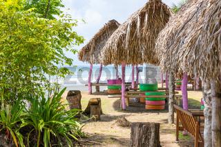 Panama, Chiriqui province, huts on the beach of Limon
