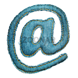 Handmade sign of jeans alphabet