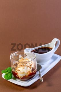 Affogato (Italian for 'drowned') is an Italian coffee dessert.