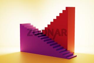 3D illustration of steps symbolizing progress and development