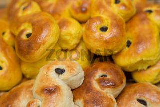 Hot and freshly baked saffron buns