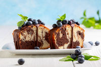 Marble cake with chocolate icing.