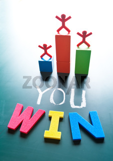 You win concept, people stand on award platform