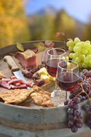 South Tyrolean snack with wine