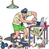 Police officer arresting online hacker