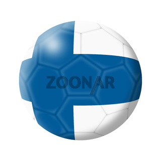 Finland soccer ball football 3d illustration on white with clipping path