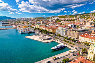 City of Rijeka waterfront aerial view