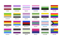 Largest set of sexual identity pride LGBT flags with texture isolated on white