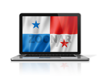 Panamanian flag on laptop screen isolated on white. 3D illustration
