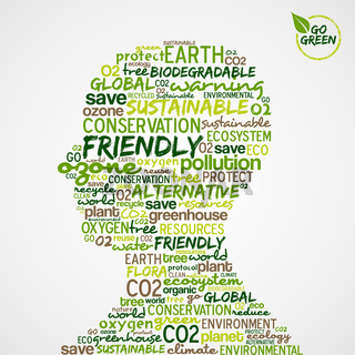 Go Green. Words cloud about environmental conservation in man head