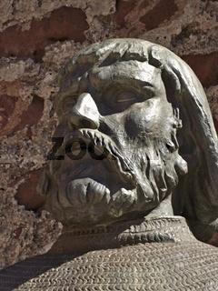 Bronze Kopf der Dom Sacho I Statue in Silves, Algarve - Portugal