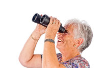 senior woman with binocular