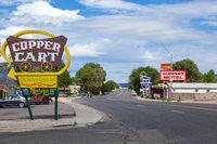 SELIGMAN, ARIZONA, USA - JULY 31 : The Historic Copper Cart restaurant sign in Seligman, Arizona, USA on July 31, 2011