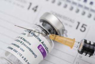 original vial astrazeneca with vaccine against covid-19 virus