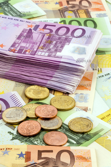 Many different Euro banknotes