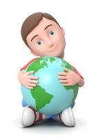 Cuddling the World. 3D Cartoon Character Illustration