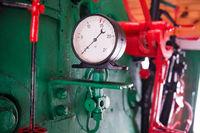 Engine of old steam locomotive train