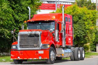 Panama David, red semi tractor trailer truck