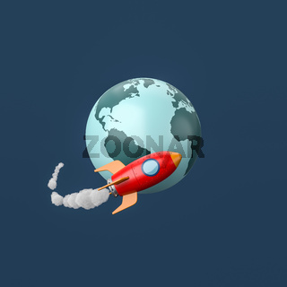 Cartoon Spaceship Flying around the Earth on Blue Background
