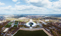 drone photo of Olympic Stadium and Olympia park in Berlin