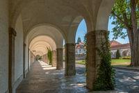 the walk in the historic bath house Sprudelhof, Bad Nauheim, Hesse, Germany