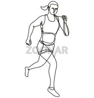 Female Marathon Runner Running Continuous Line Drawing