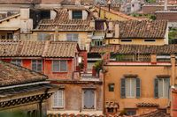 Panoramic view to Rome rooftops in historic part of city