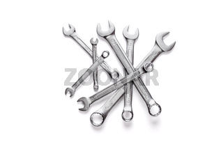 Set of combination wrenches isolated on white background