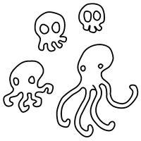 Skull Octopus Line Drawing