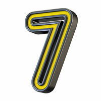 Yellow black outlined font Number 7 SEVEN 3D
