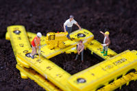 Maintenance team repairs a road