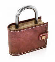 Wallet with padlock top isolated on white background. 3D illustration