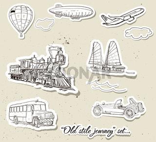 Vector set of vintage transport