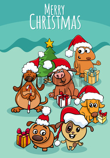 design or card with cartoon puppies on Christmas time
